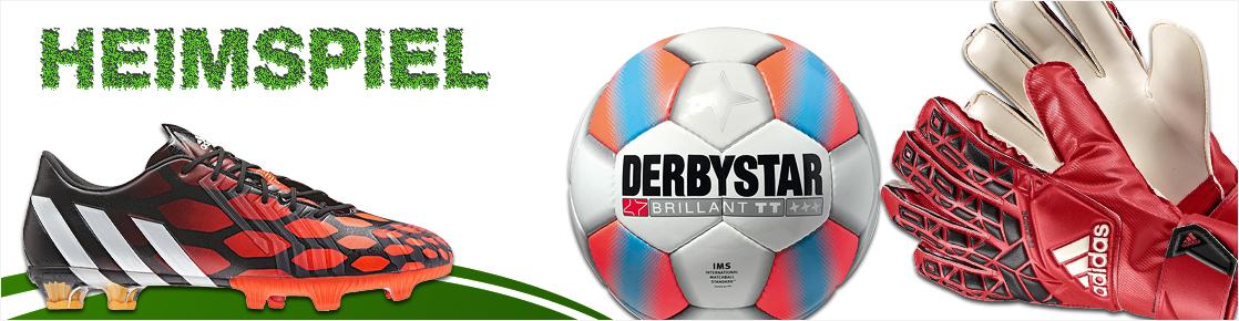Banner mit Fussballschuhen, einem Fußball und Torwarthandschuhen