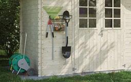 Kleine Grafik zum Thema Garten mit einem weißen Gartenhaus aus Holz