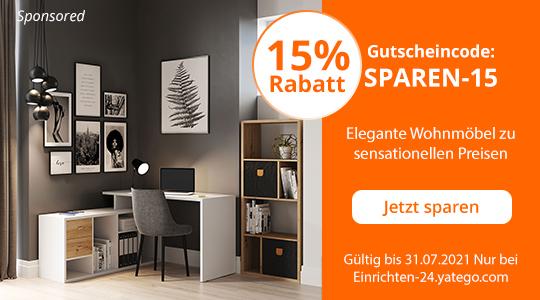 15% Rabatt auf Wohnmöbel von einrichten-24.yatego.com