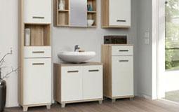 Kleine Grafik zum Thema Badezimmer - Waschtisch mit Spiegelschrank