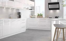 Kleine Grafik zum Thema Küche - Stylisch-moderne Küche in weiß