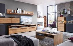 Kleine Grafik zum Thema Wohnzimmer - Wohnzimmer mit Holzmöbeln