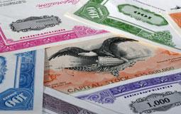 Kleine Grafik zum Thema Sammeln mit bunten, historischen Wertpapieren