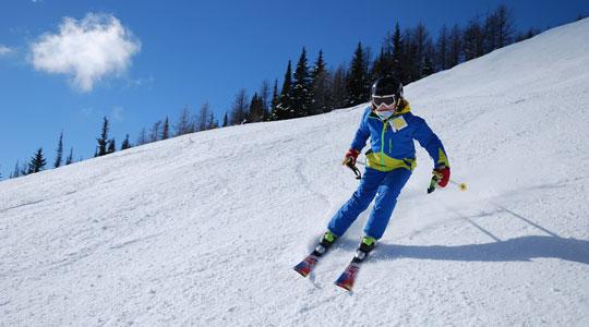 Grafik zum Thema Skisport mit einem Skifahrer im blauen Skianzug, der einen Berg hinunter fährt