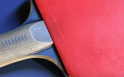 Kleine Grafik zum Thema Tischtennis mit einem Tischtennisschläger auf einer blauen Tischtennisplatte liegend