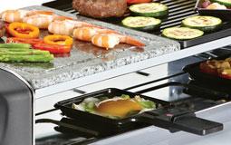 Kleine Grafik zum Thema Raclette mit gegrilltem Gemüse auf Steinplatte und Grill