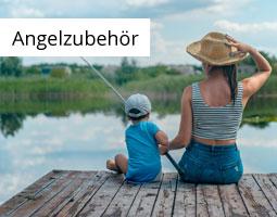 Kleine Grafik zum Thema Angeln mit einer Frau und einem Kind angelnd auf einem Steg
