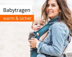 Kleine Grafik zum Thema Baby mit einer jungen Frau, die ihr Baby mit einer Babytrage trägt und freundlich lächelt