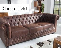 Kleine Grafik zum Thema Möbel mit einer klassischen, braunen Chesterfield-Couch