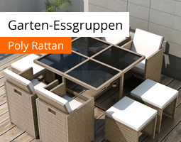 Kleine Grafik zum Thema Gartenmöbel mit einem rechteckigen Tisch, vier Hockern und vier Stühlen aus Rattan in beige