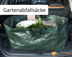 Kleine Grafik zum Thema Gartenabfallsäcke mit einem dunkelgrünen, gefüllten Abfallsack, der in einem Kofferraum liegt