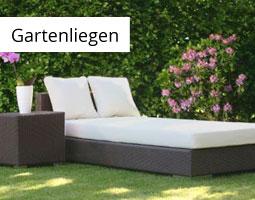 Kleine Grafik zum Thema Garten mit einer grauen Gartenliege auf einer Terrasse