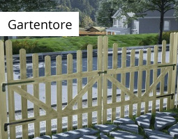 Kleine Grafik zum Thema Garten mit einem hellen Gartentor aus Holz
