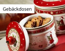 Kleine Grafik zum Thema Weihnachten mit einer offenen,rot-weißen Gebäckdose gefüllt mit Keksen