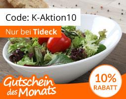 Kleine Grafik zum Thema Gutschein mit einer weißen Schale der Marke Holst gefüllt mit Salat und zwei Tomaten