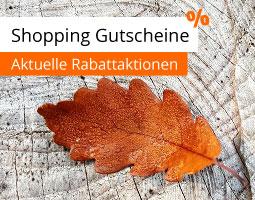 Kleine Grafik zum Thema Gutschein mit einem Herbstblatt auf hellem Holz
