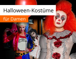 Kleine Grafik zum Thema Halloween mit Frauen in Horrorclown und anderen Halloween-Kostümen