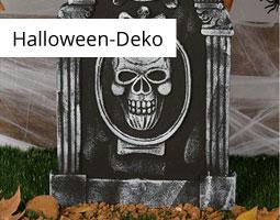 Kleine Grafik zum Thema Halloween mit einem schwarzen Deko-Grabstein