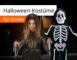 Kleine Grafik zum Thema Halloween mit Kindern im Hexen- und Skelettkostüm