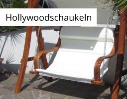 Kleine Grafik zum Thema Gartenmöbel mit einer braunen Hollywoodschaukel aus Holz mit weißem Stoffbezug