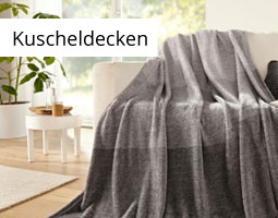 Kleine Grafik zum Thema Wohnen mit einer grauen Kuscheldecke über einem weißen Sofa liegend
