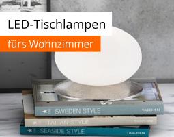 Kleine Grafik zum Thema Beleuchtung mit einer ovalen LED-Tischleuchte, die auf drei Büchern steht