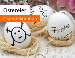 Kleine Grafik zum Thema Ostern mit drei bemalten, weißen Ostereiern