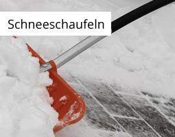 Kleine Grafik zum Thema Winter mit einer orangenen Schneeschaufel, die den Weg von Schnee befreit