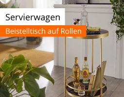 Kleine Grafik zum Thema Möbel mit einem goldenen Servierwagen, der Flaschen und Gläser transportiert