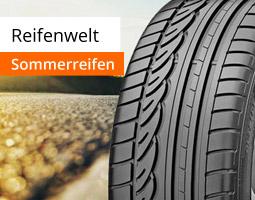 Kleine Grafik zum Thema Reifen mit einem Sommerreifen vor einer mit Sonnenlicht hell beleuchteten Straße