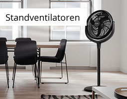 Kleine Grafik zum Thema Sommer mit einem schwarzen Standventilator neben einer Sitzgruppe stehend