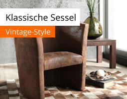 Kleine Grafik zum Thema Möbel & Wohnen mit einem dunkelbraunen Sessel im Vintage-Stil