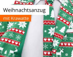 Kleine Grafik zum Thema Weihnachten mit einem grünen Weihnachtsanzug mit rot-weißen Elementen, Krawatte und einem weißen Hemd