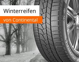 Kleine Grafik zum Thema Reifen mit einem Winterreifen von Continental vor einer verschneiten Waldstraße