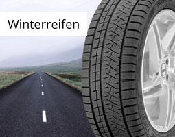 Kleine Grafik zum Thema Reifen mit einem Winterreifen vor einer herbstlichen Landstraße