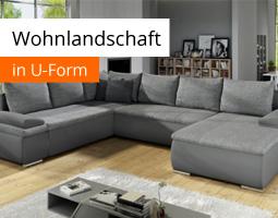 Kleine Grafik zum Thema Wohnzimmermöbel mit einem grauen Sofa in U-Form