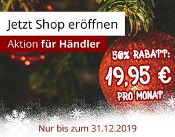 Kleine Grafik zum Thema Händler werden mit zwei roten Weihnachtskugeln und einer Rabattaktion