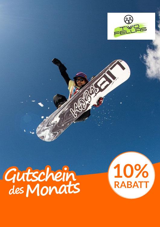 Vibes-Kachel zum Thema Gutschein mit einem Snowboarder
