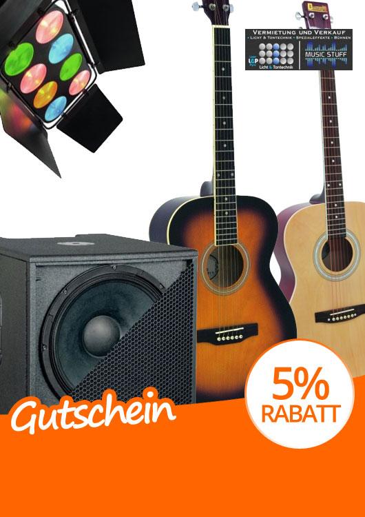 Vibes-Kachel zum Thema Gutschein mit zwei Westerngitarren und weiterem Licht- sowie Musikequipment