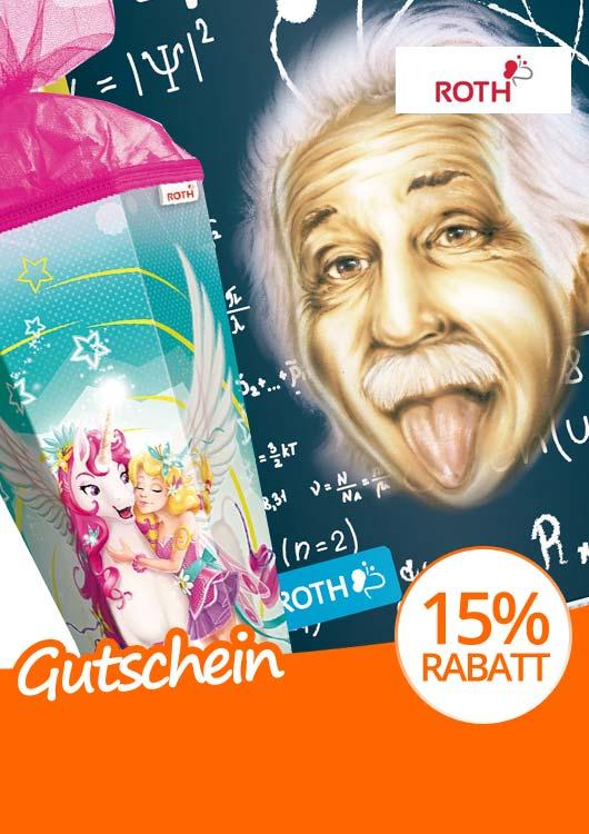 Vibes-Kachel zum Thema Gutschein mit einem Hausaufgabenheft mit Albert Einstein als Motiv und daneben eine pinke Schultüte mit E