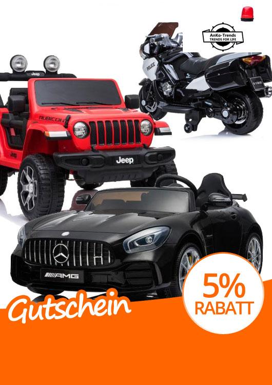 Vibes-Kachel zum Thema Gutschein mit einem schwarzen AMG GT und roten Jeep Wrangler als Kinderfahrzeuge sowie einem Elektro-Kind