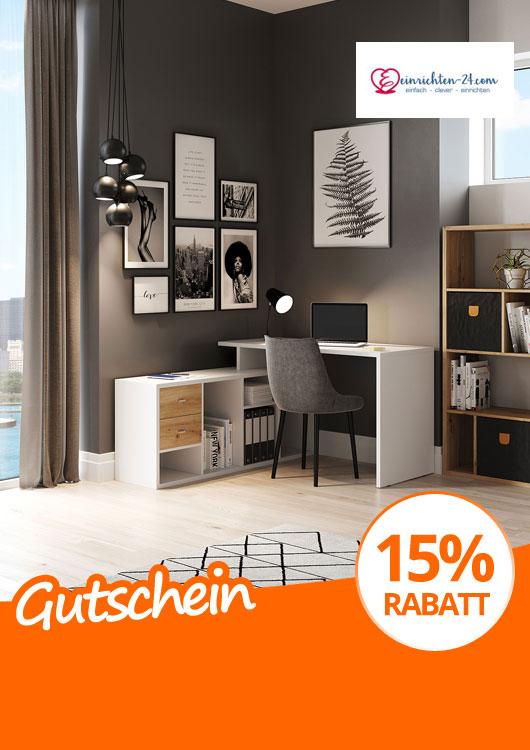 Vibes-Kachel zum Thema Gutschein mit einem stylisch möbliertem Arbeitszimmer