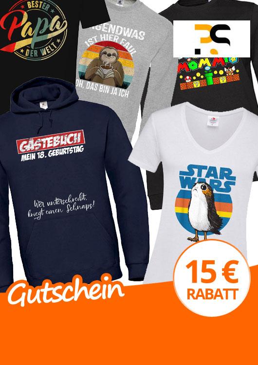 Vibes-Kachel zum Thema Gutschein mit unterschiedlich bedruckten Shirts, Hoodies und Longsleeves
