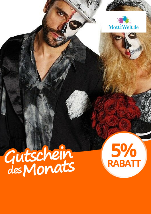 Vibes-Kachel zum Thema Gutschein mit einem Pärchen im Zombie Bräutigam- & Braut-Kostüm von Rubies