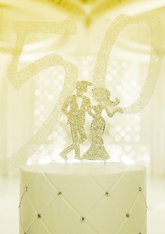 Vibes-Kachel zum Thema Hochzeitstag mit einem gold-glänzenden Deko-Pärchen