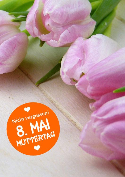 Vibes-Kachel zum Thema Muttertag mit rosanen Tulpen auf einem hellbraunen Holztisch