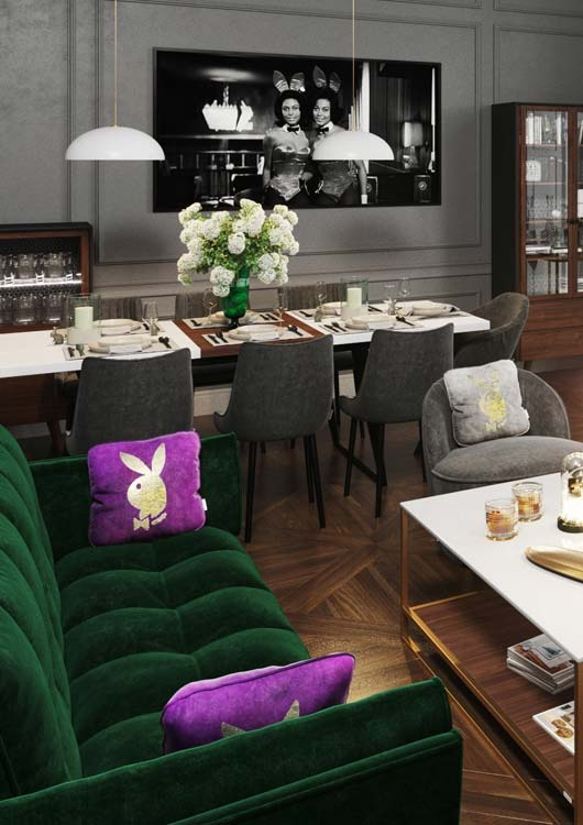 Vibes-Kachel zum Thema PLAYBOY Home mit einem Ess- & Wohnbereich, der mit Möbeln von Playboy ausgestattet ist