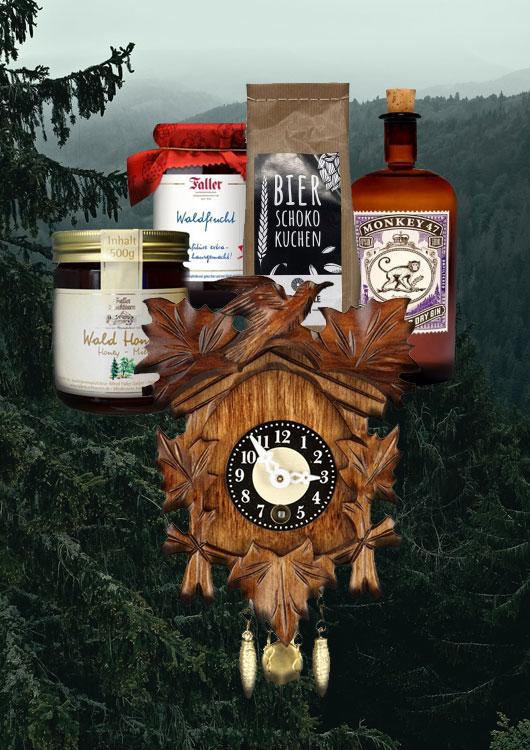 Vibes-Kachel zum Thema Schwarzwälder Feinkost mit einer Kuckucksuhr und mehreren Schwarzwälder Spezialitäten