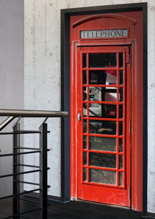 Vibes-Kachel zum Thema Fototapete mit einer Londoner Telefonzelle als Motiv einer Türtapete